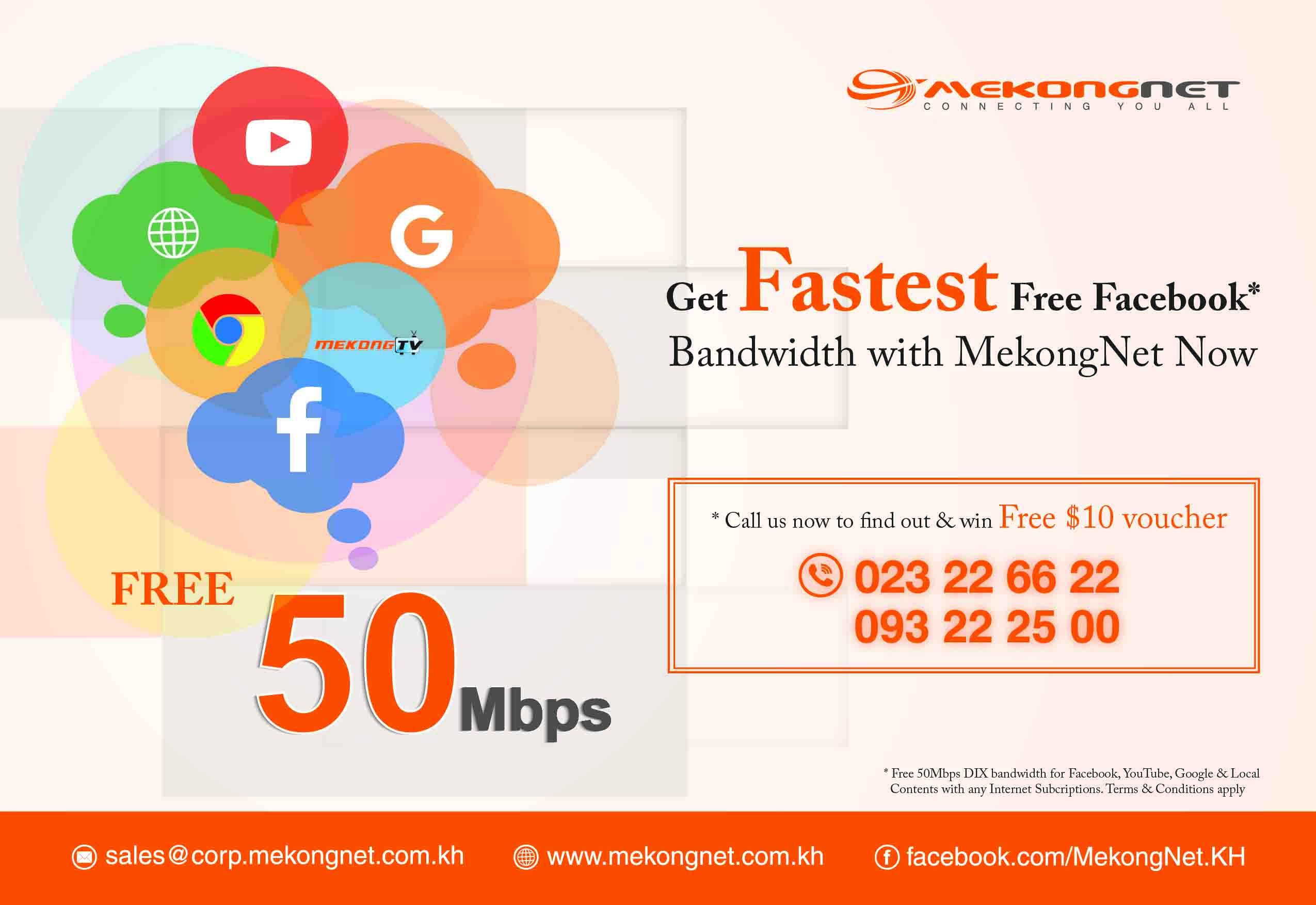 Get Fastest Free Facebook* Bandwidth with MekongNet Now